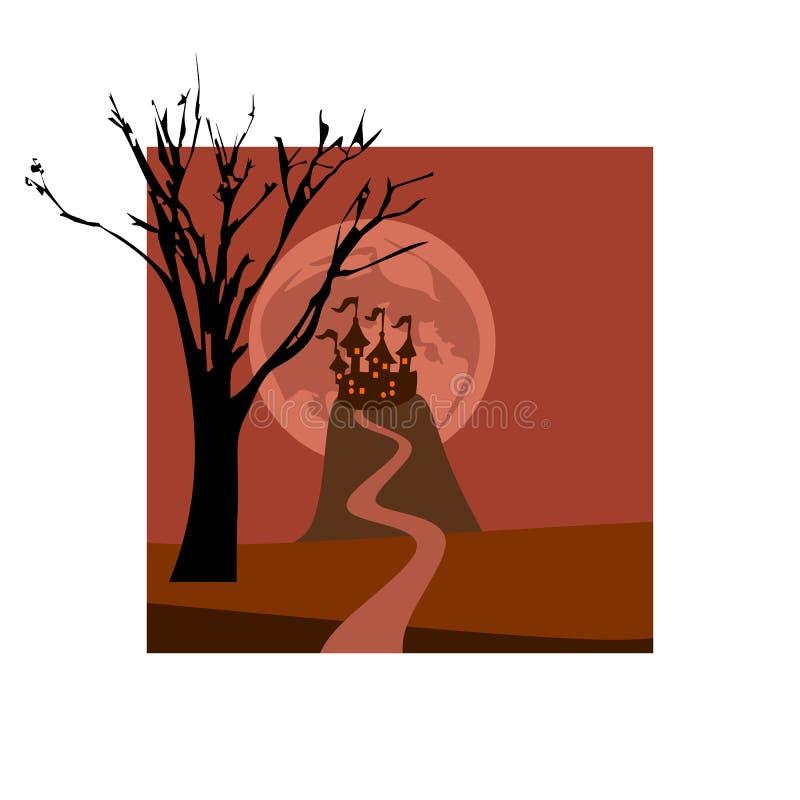 Schöne Karte für Halloween-Feiertag mit Schloss auf dem Hügel- und Baumschattenbild stock abbildung
