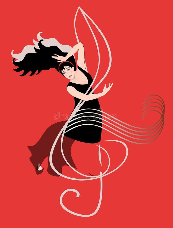 Schöne Karte mit dem Flamencotänzer, tanzend auf Violinschlüssel gegen roten Hintergrund lizenzfreie abbildung