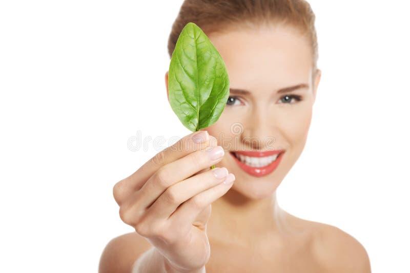 Schöne kaukasische schulterfreie Frau mit einem grünen Blatt. stockfoto