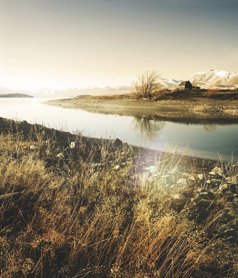 Schöne Kirche panoramisches Serene New Zealand Concept lizenzfreies stockfoto