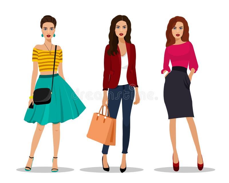 Schöne Kleidung der jungen Frauen in Mode Ausführliche Frauencharaktere mit Zubehör vektor abbildung