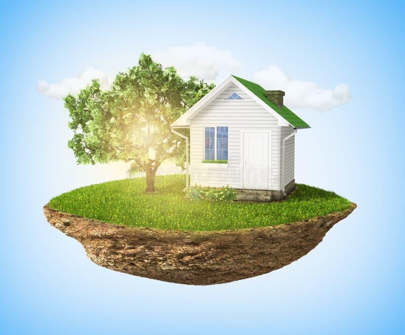 Schöne kleine Insel mit dem Gras- und Baum- und Hausfrei schweben stockfotografie