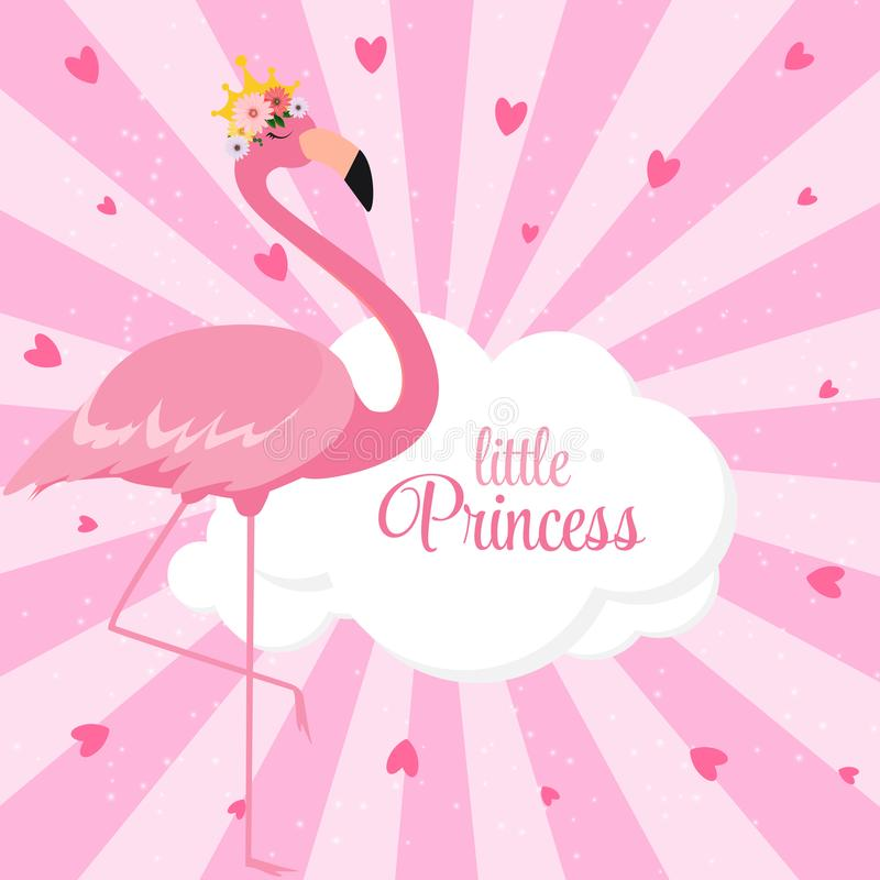 Schöne kleine Prinzessin Pink Flamingo in der goldenen Krone Abbildung lizenzfreie abbildung
