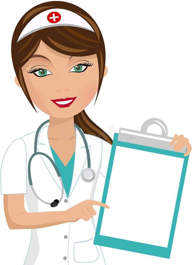 Schöne Krankenschwester Showing Folder lizenzfreie abbildung