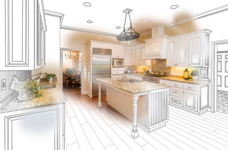 Schöne kundenspezifische Küchen-Zeichnungs-und Foto-Kombination auf Weiß lizenzfreie abbildung