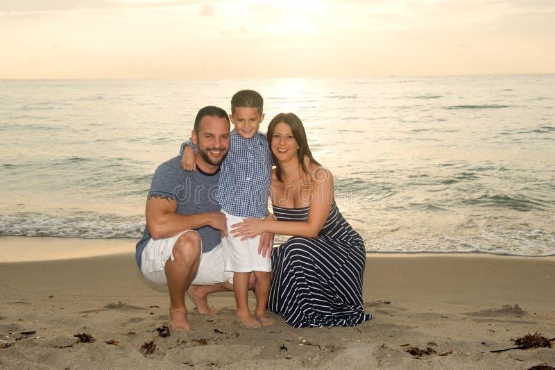 Schöne lächelnde Brunette-Familie lizenzfreie stockbilder