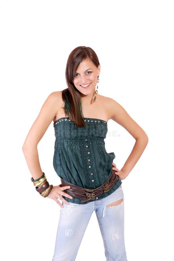 Schöne lächelnde Frau lizenzfreies stockfoto