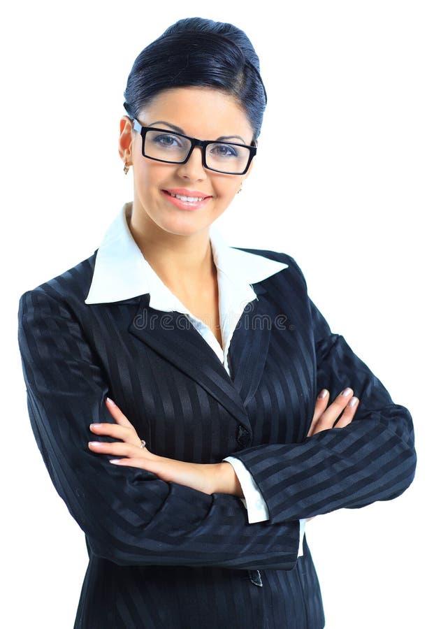 Schöne lächelnde Geschäftsfrau stockfotos