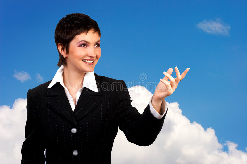 Schöne lächelnde Geschäftsfrau stockbilder
