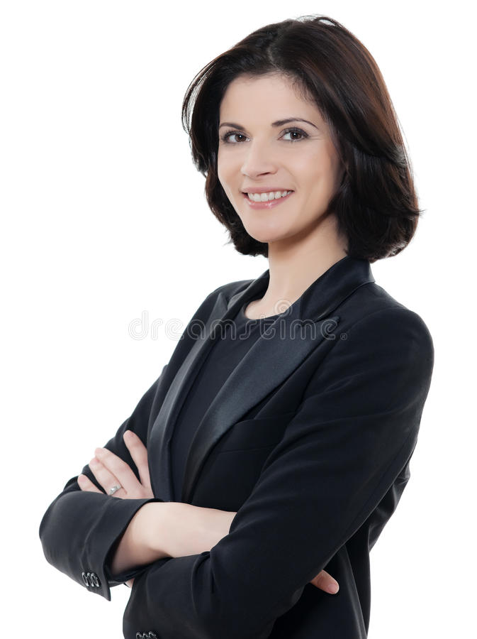 Schöne lächelnde kaukasische Geschäftsfrau-Porträtarme gekreuzt stockfoto