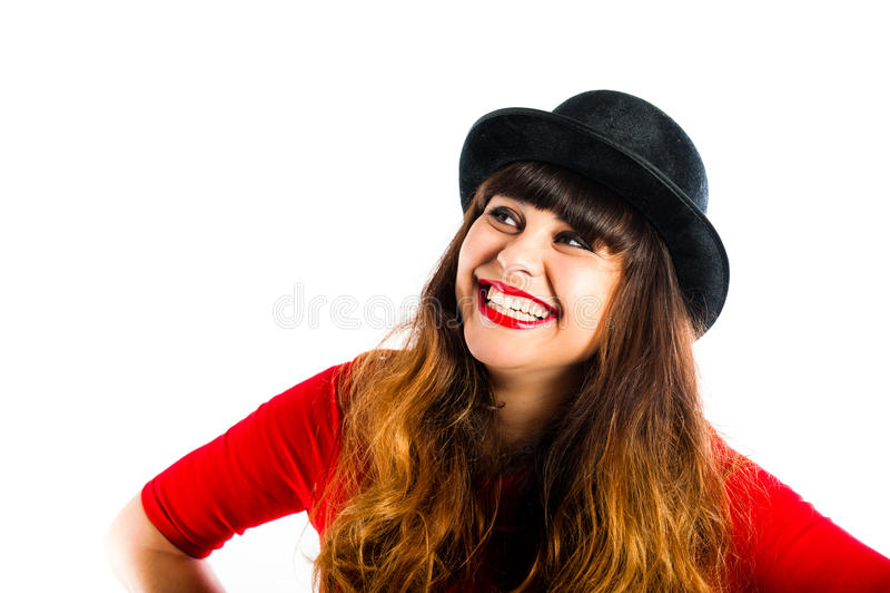 Schöne lächelnde tragende Melone der jungen Frau stockbilder