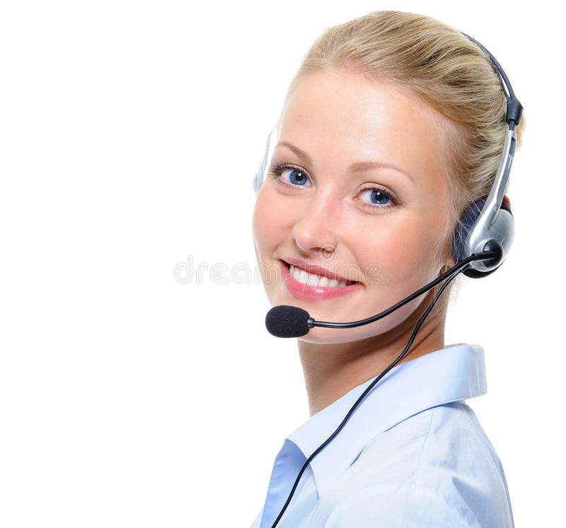 Schöne lachende freundliche Frau mit Kopfhörern lizenzfreies stockfoto
