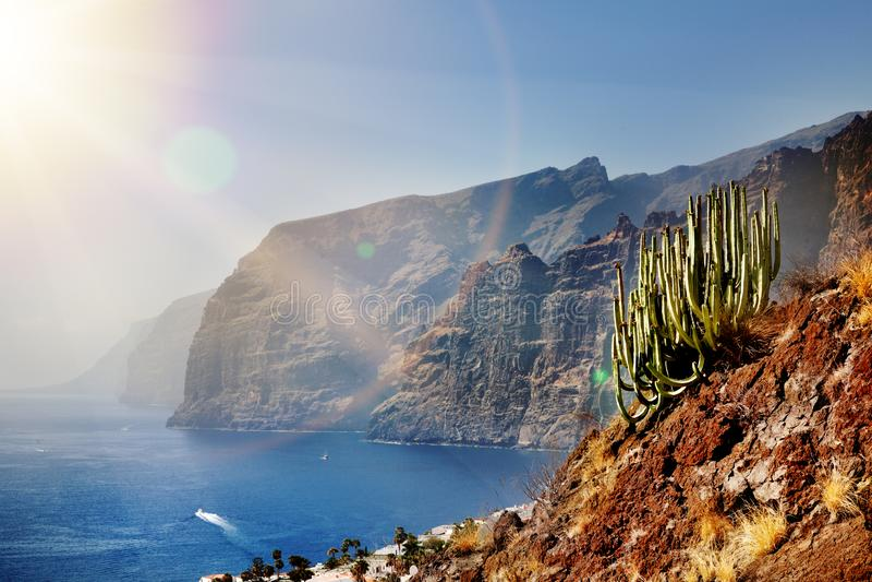 Schöne Landschaft des Strandes und der Küste mit Bergen und Vegetation Eindrucksvolle Szene, Klippen der Riesen Teneriffa, zitron stockfoto