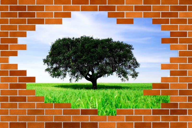 Schöne Landschaft hinter unterbrochener Backsteinmauer lizenzfreies stockfoto