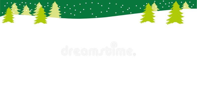Schöne Landschaft mit Weihnachtsbäumen, snowbank und Schnee stock abbildung