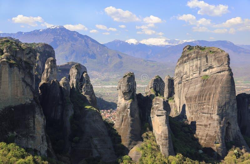 Schöne Landschaft von Meteora-Felsen lizenzfreies stockfoto