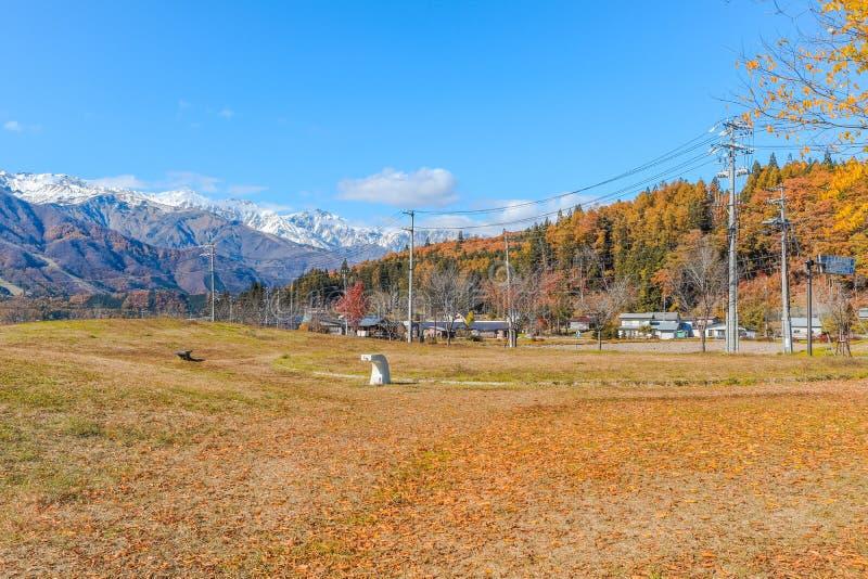 Schöne Landschaftsansicht des Hintergrundes blauen Himmels Hakubaand in der Präfektur Nagano Japan stockfotos