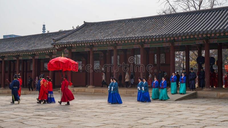 Schöne Landschaftsbilder an Gyeongbok-Palast Seoul, Südkorea lizenzfreie stockfotografie