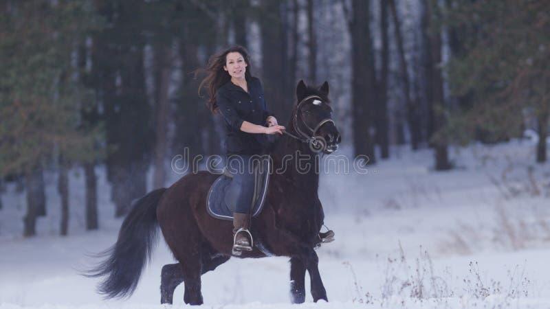 Schöne langhaarige Frau, die eine Rappe durch den Schnee im Wald, tänzelnder Hengst reitet lizenzfreie stockfotografie