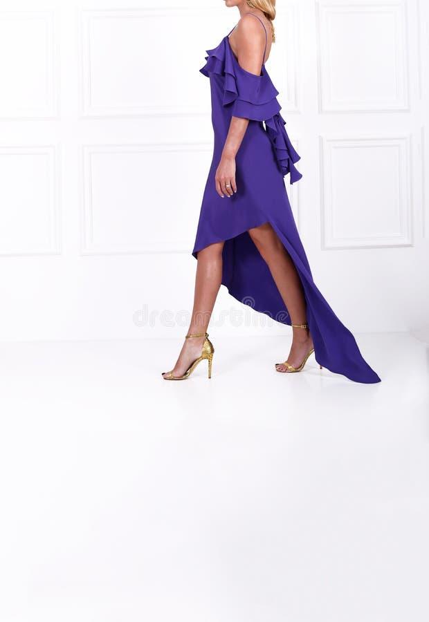 Schöne langhaarige Frau im blauen Kleid lizenzfreie stockfotografie