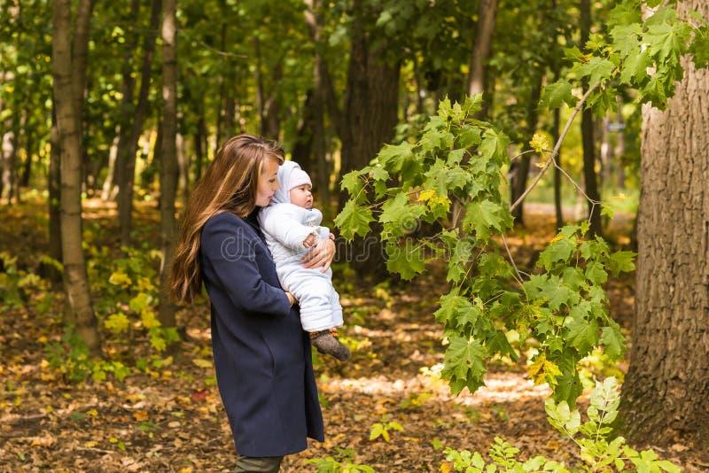 Schöne Lebensstilherbstfotomutter- und -kinderwege im Park, warmes Sonnenlicht stockfotografie