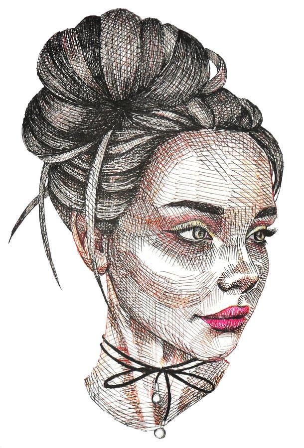Schöne Lippen des schönen russischen Mädchens, Augen, Haar, Liebe lizenzfreie abbildung