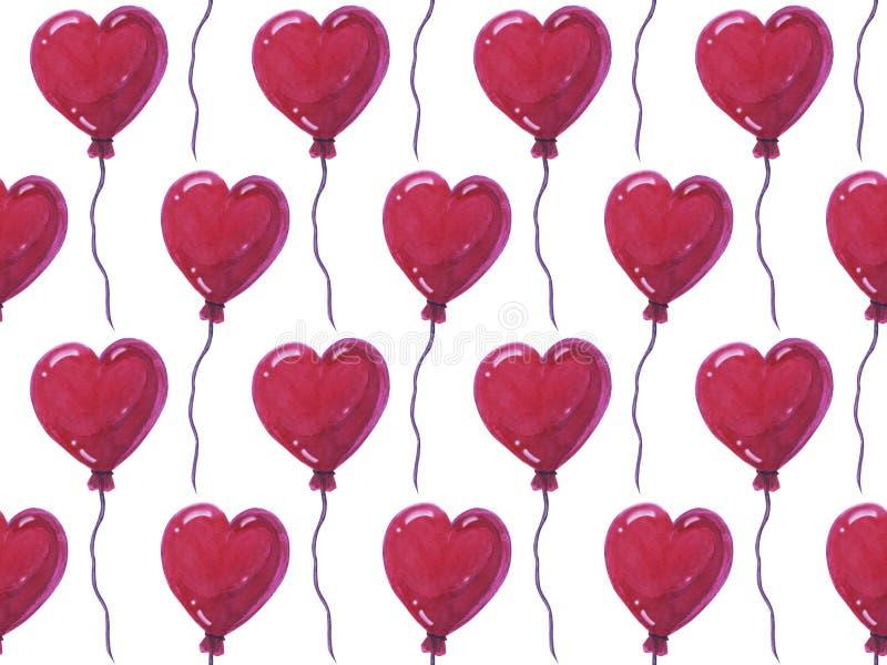 Schöne Luftballone in der Form von Herzen, nahtloses Aquarellmuster auf weißem Hintergrund Kann für Grußkarte verwendet werden lizenzfreie abbildung