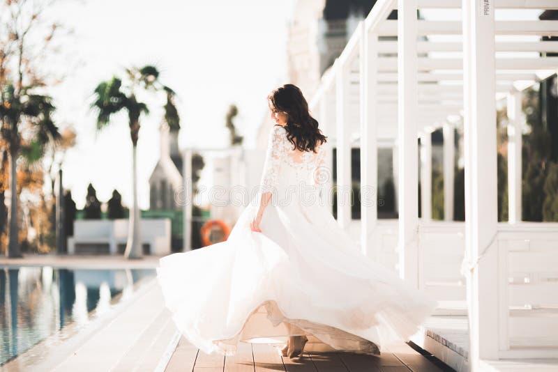 Schöne Luxusbraut im eleganten weißen Kleid lizenzfreie stockbilder