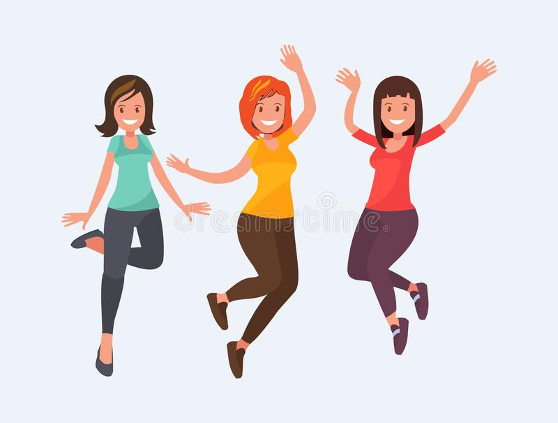 Schöne Mädchen springen mit Glück stock abbildung