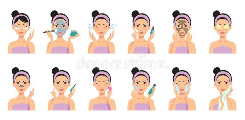 Schöne Mädchenreinigung und interessieren sich ihr Gesicht mit verschiedenen Aktionen stock abbildung