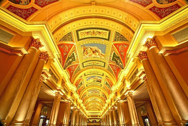 Schöne Malerei auf der Decke im venetianischen Hotel, Macau stockfotografie