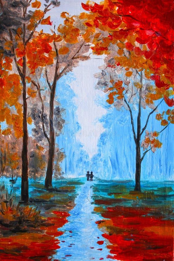 Schöne Malerei, schöner Herbst der Aquarellfarbe im Wald lizenzfreie abbildung