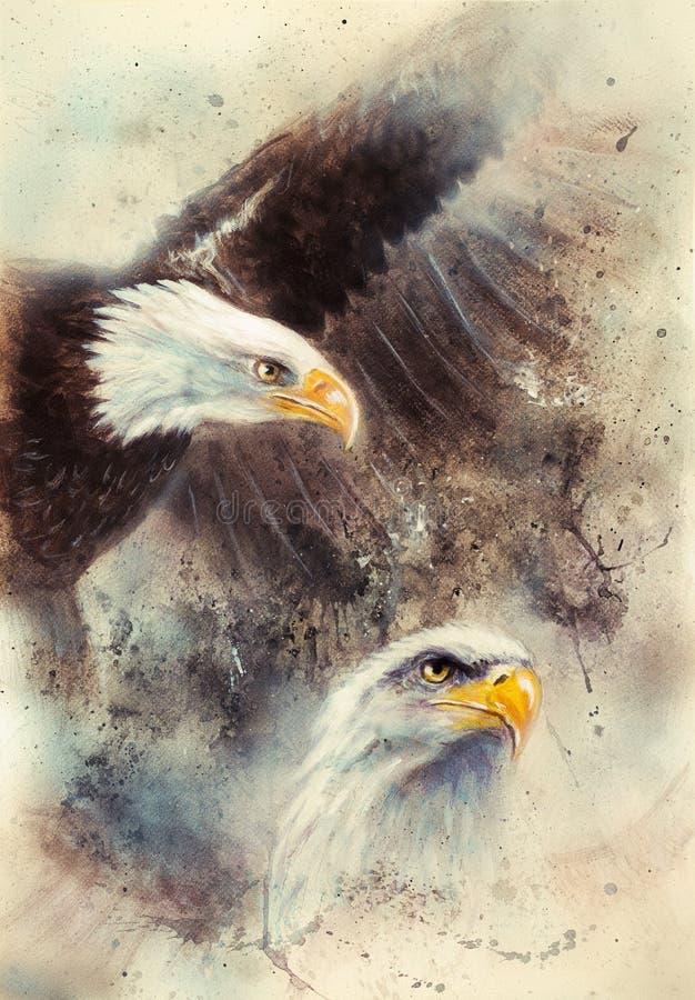 schöne Malerei von zwei Adlern auf ein Zusammenfassungshintergrund Symbolen der USA stock abbildung