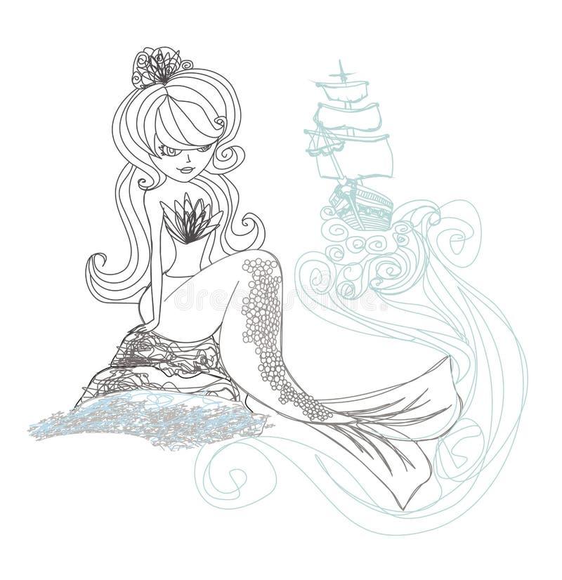 Schöne Meerjungfrau - Gekritzelillustration vektor abbildung