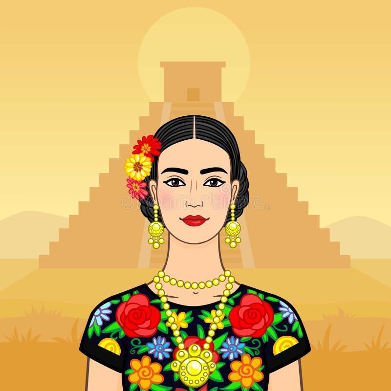 Schöne mexikanische Frau in nationale Kleidung stock abbildung