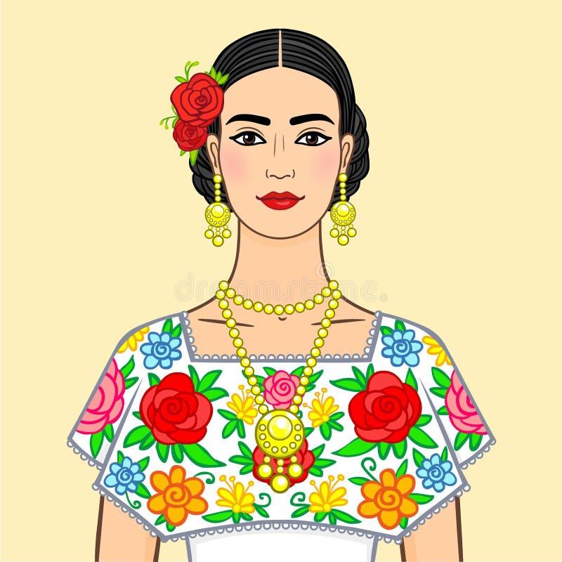 Schöne mexikanische Frau in nationale Kleidung Lokalisiert auf einem beige Hintergrund lizenzfreie abbildung