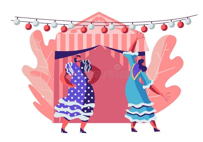 Schöne mexikanische Frauen, die Trachtenkleid-Tanzen während Cinco De Mayo Festivals nahe verziertem feenhaftem Zelt tragen und f stock abbildung