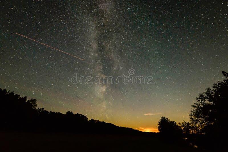 Schöne Milchstraßegalaxie auf einem nächtlichen Himmel und einem Schattenbild des Baums lizenzfreies stockbild