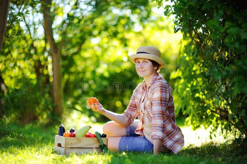 Schöne Mittelalterfrau, die Ernte genießt stockfotografie