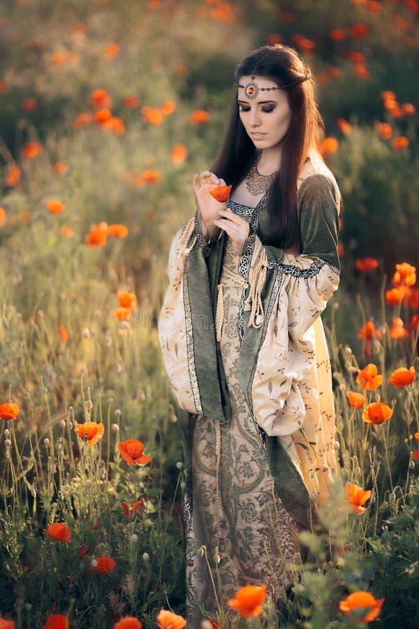 Schöne mittelalterliche Königin, die in der Natur träumt stockfoto