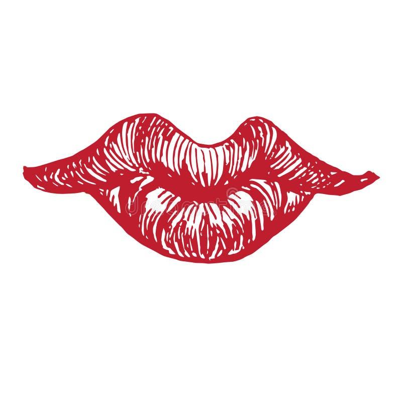 Schöne, mollige Lippen formen emotionales nettes, spielerisch, sexy, Holzschnittartentwurf, Handgezogenes Gekritzel, Skizze in de vektor abbildung