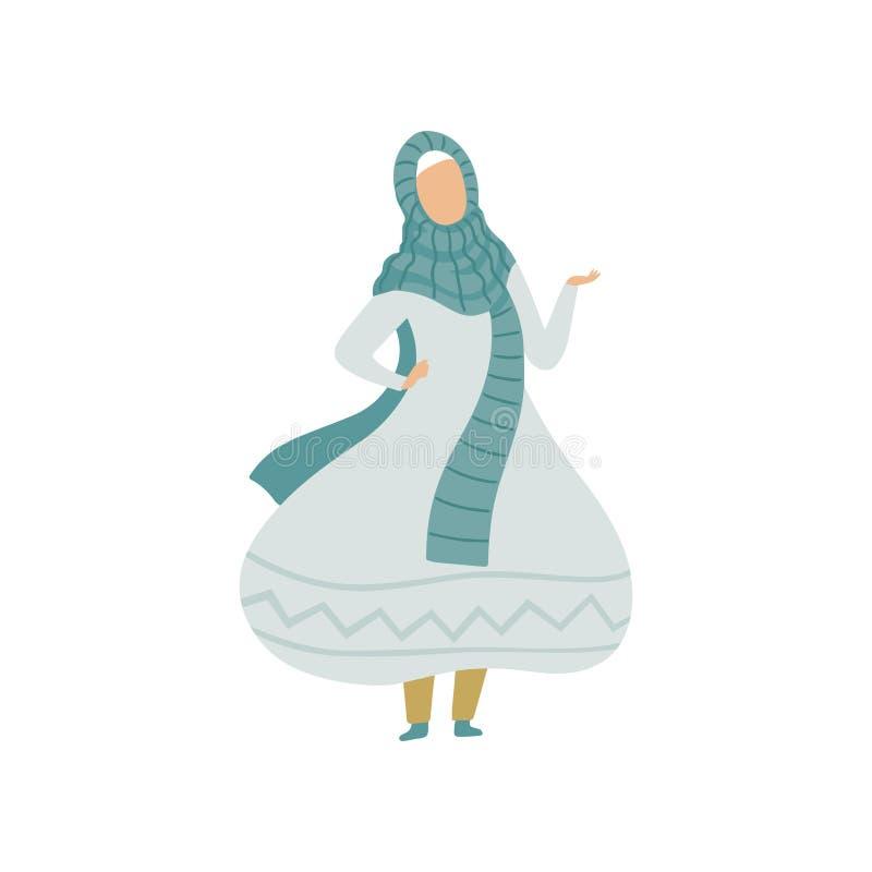 Schöne moslemische Frau im hellblauen Kleid und Hijab, modernes arabisches Mädchen in der traditionellen Kleidungs-Vektor-Illustr lizenzfreie abbildung