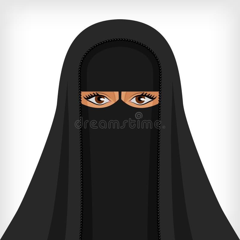 Schöne moslemische Frau im schwarzen niqab stock abbildung