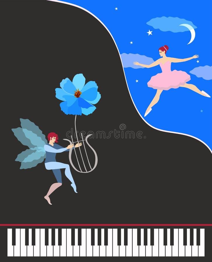 Schöne Musikkarte oder -plakat Schwarzes Konzertflügelklavier, nettes geflügeltes Tanzen feenhaft im rosa Ballettröckchen und Elf vektor abbildung