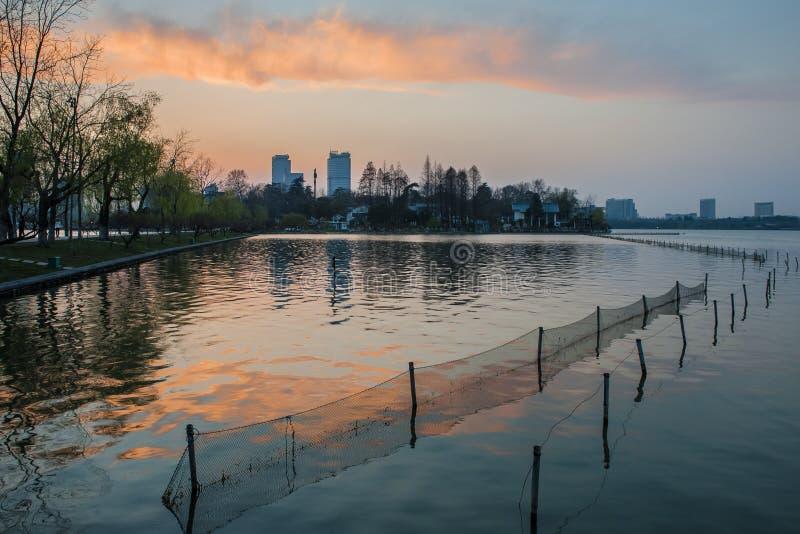 Schöne Nachtansicht von Nanjing stockbild