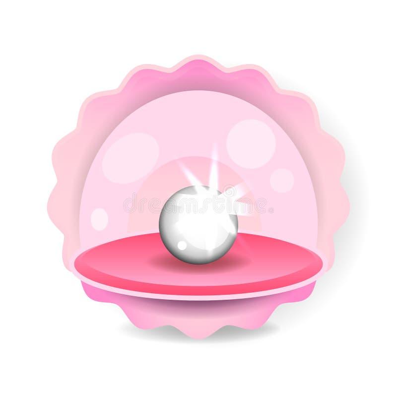 Schöne natürliche offene Perlen-Shell Close Up Realistic Singles der besten Qualität Gegenstand-Bild-Vektor wertvoller vektor abbildung