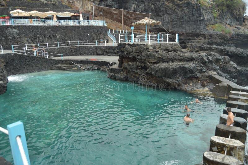 Schöne natürliche Pools nannten Soßen EL Charco Azul In The Town Of San Andres y Reise, Natur, Feiertage, Geologie 11. Juli 2015 lizenzfreies stockbild