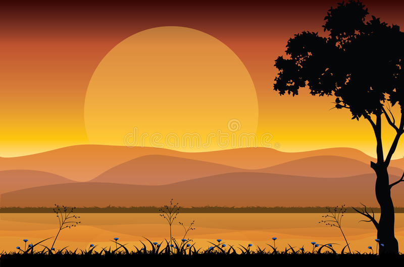 Schöne Natur bei Sonnenuntergang, Vektorillustrationen vektor abbildung