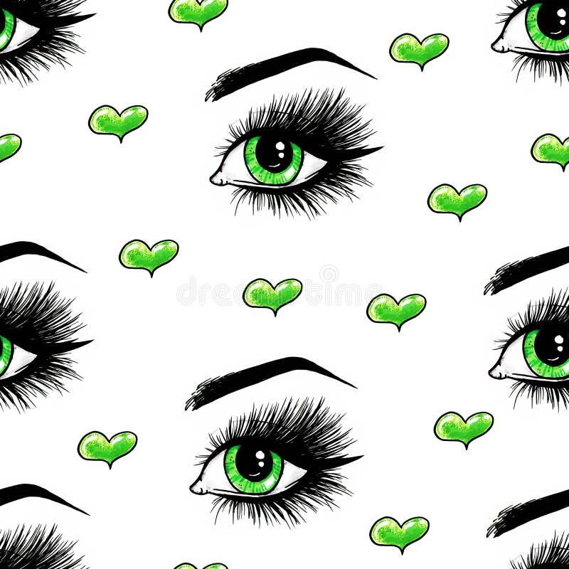 Schöne offene weibliche grüne Augen mit den langen Wimpern ist auf einem weißen Hintergrund Nahtloses Muster für Auslegung stock abbildung
