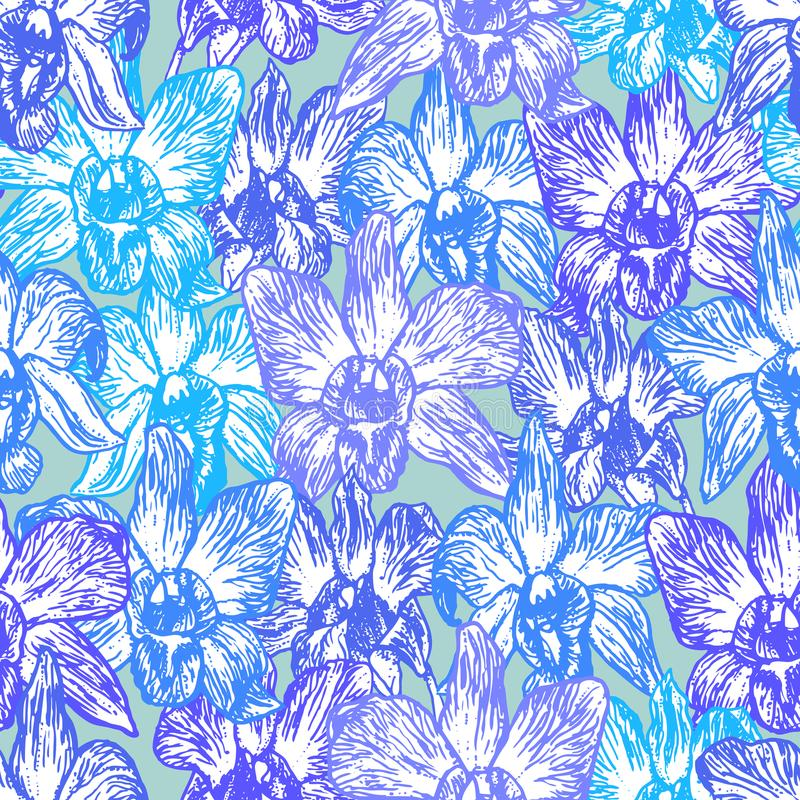 Schöne Orchidee Übergeben Sie gezogene blaue lila purpurrote Kontur auf nahtlosem Muster der blauen Hintergrundskizze, Kartenfahn lizenzfreie abbildung